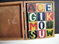 Antique Wooden Blocks Christmas Holiday Abc Blocks In Wood Box Vtg A - B - C And039s