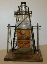 Vintage Old Grand-dad One Gallon Whiskey Bottle And Texas Oil Derrick Pour Stand