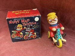 Nutty Mad Tricycle With Original Box Marx Mechanical Wind-up Tin Toy Japan