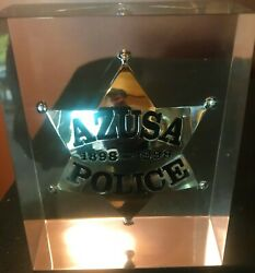 Azusa Police Dept.100 Year Commemorative Badge 1898-1998 121 Of 500 In Lucite