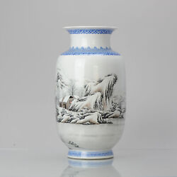 High Quality 1950-1960 Qianlong Marked Chinese Porcelain Vase Proc Winter