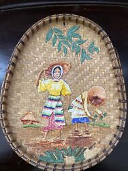 Old Woven Bamboo Plate Tray With Mache Art Figure Farmer Women South American