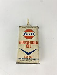 Vintage 4 Oz Gulf Household Oil Oiler Tin Can Gas Service Station Advertising