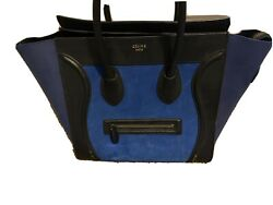 Celine Paris Runway Auth Luggage Nano Large Black Blue With Wallet Leather