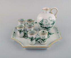 Meissen Indian Green Sake / Schnapps Set On Tray In Hand-painted Porcelain.