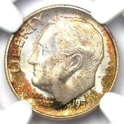1952-s Roosevelt Dime 10c - Certified Ngc Ms68 Ft - Rare Ms68 Fb - 900 Value