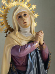 Our Lady Of The Seven Sorrows 37.7 In Sancta Mater Dolorosa Vintage Antique