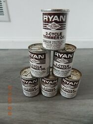 Vintage Ryan 2-cycle Motor Oil Can Rare Trimmer Oil New Full Can Lot Of 6