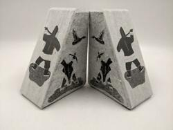Pair Inuit Siku Eskimo Carved Soapstone Geese 6 Bookends Signed