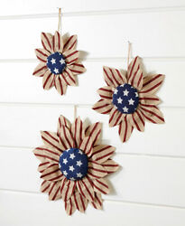Set of 3 Americana Sunflower Wall Hangings Home Accent Decor.