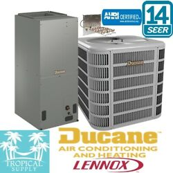 5 Ton A/c Split System 14 Seer Ducane Lennox Cond And Air Handler With Heat Strip
