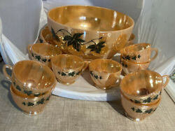 Ca 50s Fire King Eggnog Punch Bowl 12 Cups Luster Anchor Hocking Drip Base Ivy