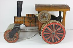 Early 1900's Tin Windup Toy Litho German Steam Roller - Scarce