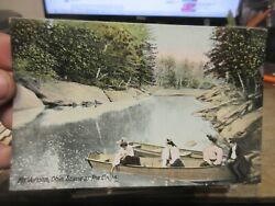 A Vintage Old Ohio Postcard Mount Mt Vernon Scene At The Caves Creek Rowboat