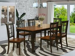 East West Nicoli 7pc Dining Set Table W/ Leaf + 6 Wood Chairs In Cherry Black