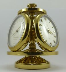 Mid-century Semca Gilt Brass Desk Clock And Weather Station With Box