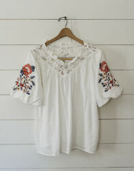L Boho Embroidered Peasant Top With Lace Large Vintage Style Blouse New Nwt