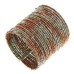 Pewter Bronze Seed Beads Memory Wire Cuff Bracelet