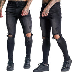 Mens Skinny Distressed Ripped Slim Fit Stretch Pants Jeans Denim Trousers Jogger