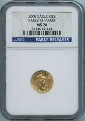 2008 Ngc Ms70 Age Gold Eagle G5 .999 Us Mint 2008 Ngc Ms-70 Early Release