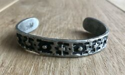 Mid-century Brutalist Handcrafted Solid Pewter Cuff Bracelet,1976,first Colony