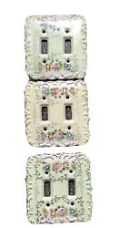 3 Vintage Betson Hand Painted Porcelain Light Dual Switch Covers