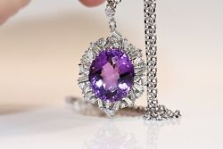 18k Gold Natural Baguet Diamond And Amethyst Stone Decorated Strong Necklace