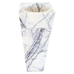 Natural Stone New York White Marble Pedestal Cone Shaped Sink Polished