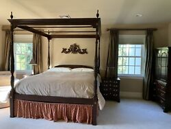 Gorgeous Harden King Canopy Bed Armoire Lingerie Chest Pre Owned