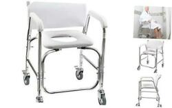 Rolling Shower And Commode Transport Chair With Wheels And Padded Seat For