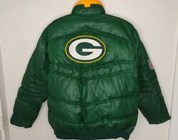 Reebok On Field Mens L Puffer Jacket Green Bay Packers Nfl Embroidered Logo Euc