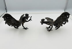 Antique Pair Sterling Silver Filigree Figural Rooster Bird Figurines