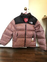 Supreme The Tnf Studded Nuptse Jacket Red Ss21 - Medium - In Hand