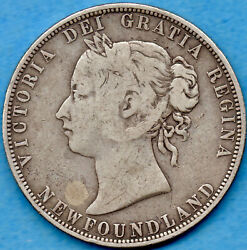 Canada Newfoundland 1874 50 Cents Fifty Cents Silver Coin - Very Good