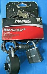 Master Lock Bike Bicycle Security 5 Foot Cable W 2 Keys + Combination Lock - New