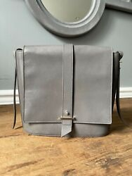 Cole Haan Structured Flap Crossbody Bag in Gray Smooth Leather $40.00