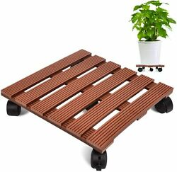 Wood Plant Stand 14 Inch Rolling Plant Caddy With Wheels Heavy Duty Industrial