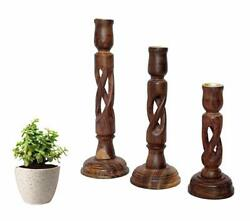 3x Wooden Handcrafted Antique Handmade Candle Stand Holder Lights For Decoration