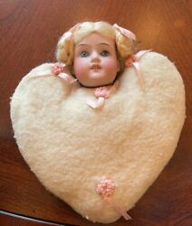 8andrdquo All Original German Bisque Head With Heart Shaped Flannel Pincushion Body
