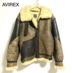 Avirex Authentic B-3 War Model Mouton Flight Jacket Size 38 Used From Japan