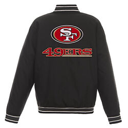 Nfl San Francisco 49ers Poly Twill Jacket Black With Two Patch Logos Jh Design