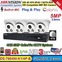 Colorvu Hikvision Compatible 4ch 5mp P2p Home Cctv System Mic Poe Ip Camera Lot