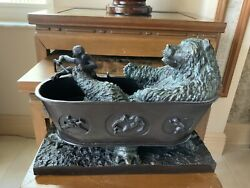Maitland-smith Bronze Bear/monkey In A Tub 4 Turtles Rare Piece