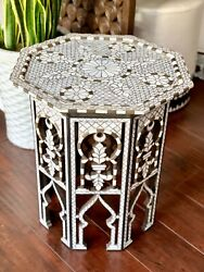 Mother Of Pearl Inlaid Moorish Style Middle Eastern Side Table