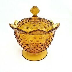 Fenton Art Glass Colonial Amber Hobnail Cookie / Candy Jar Covered Htf