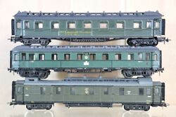 Liliput Repainted Rake Of 3 Dr 3rd Class Express Eza Ves And Baggage Coach Nv