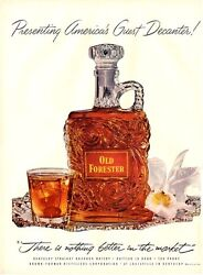 1952 Old Forester Whiskey Vintage Bottle Orchid Guest Decanter Print Ad