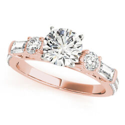Brilliant Cut 1.67 Ct Real Diamond Solid 14k Rose Gold Engagement Rings Size 8 9