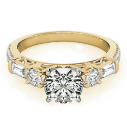 Solid 14k Yellow Gold Brilliant Cut 1.67 Ct Real Diamond Proposal Rings Size 6 7