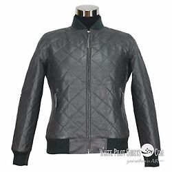 Mens Leather Jacket Club Monaco Polo Rib Bomber Quilted Style Gents Soft Jacket